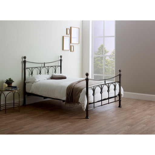 Nyla Antique Nickel Vintage Metal Bed Frame - FurniComp