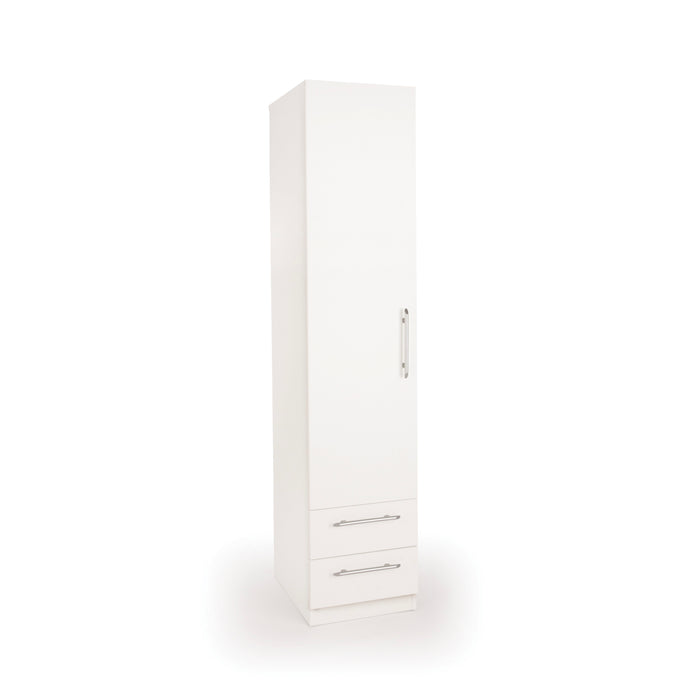 Olivia 1 Door 2 Drawer White Wardrobe - FurniComp