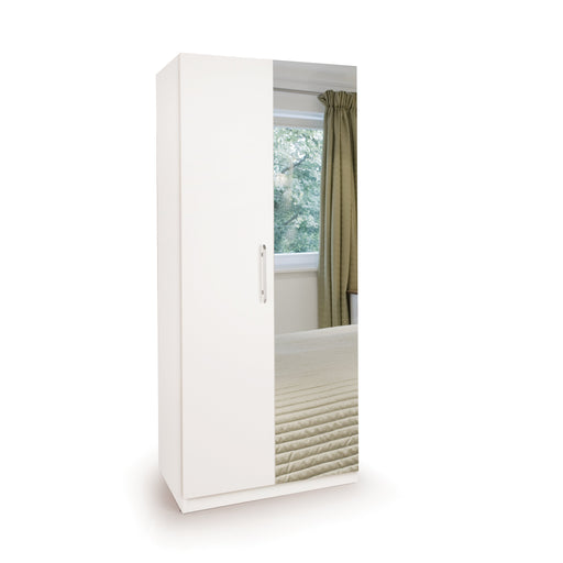 Olivia 2 Door Mirror White Wardrobe - FurniComp