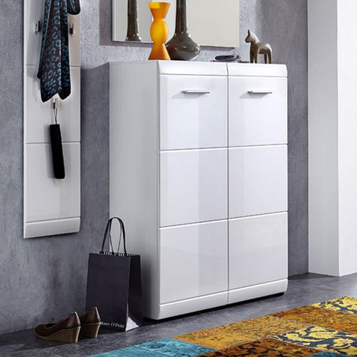 Olivia 2 Door Wall Mount Shoe Cabinet In White With High Gloss Fronts SC1016