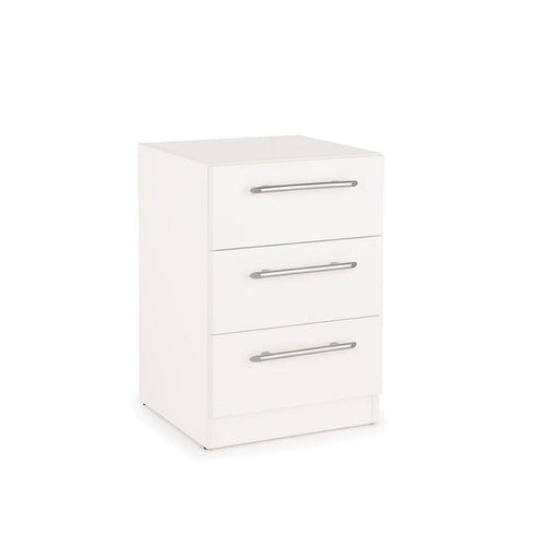 Olivia 3 Drawer White Bedside - FurniComp