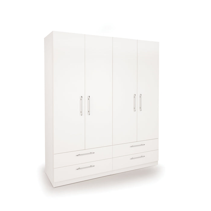 Olivia 4 Door 4 Drawer White Wardrobe - FurniComp