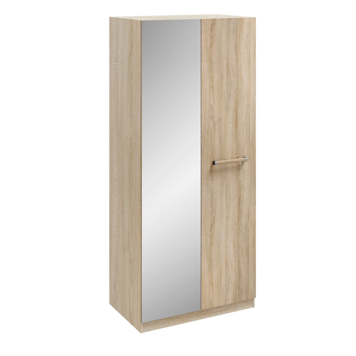 Orla Oak 2 Door Mirrored Wardrobe - FurniComp