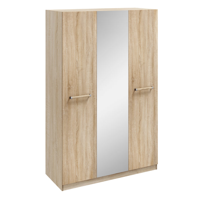 Orla Oak 3 Door Mirrored Wardrobe - FurniComp