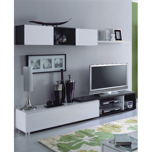 Oslo Oak Grey and White Gloss TV Cabinet With Wall Mounted Unit - FurniComp