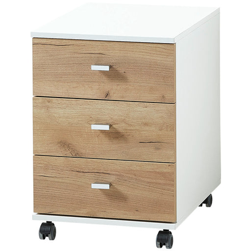 Palmira 3 Drawer White and Oak Drawer Pedestal - FurniComp