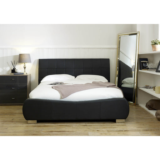 Paris Black Faux Leather Bed Frame - FurniComp
