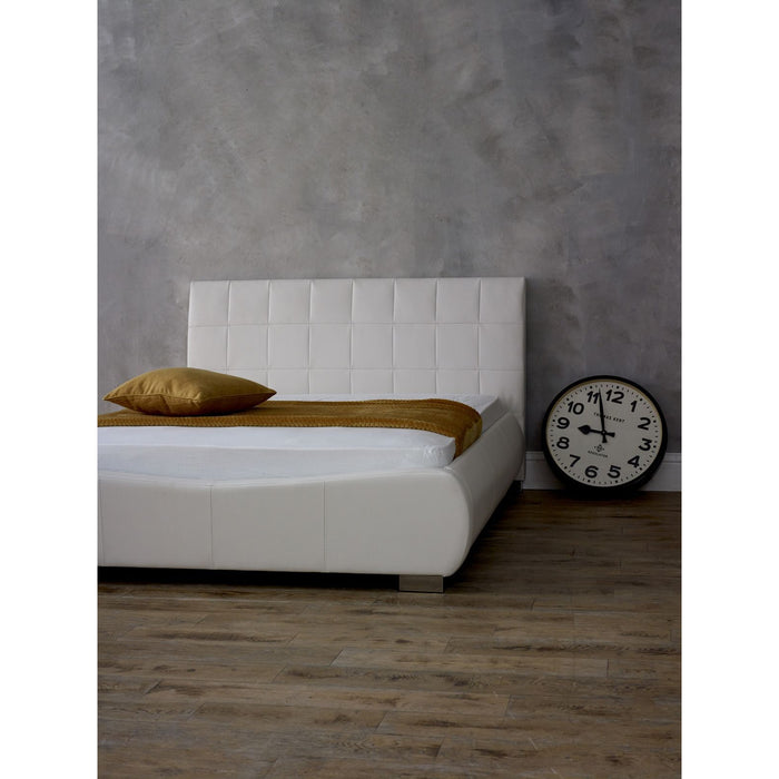 Paris White Faux Leather Bed Frame - FurniComp