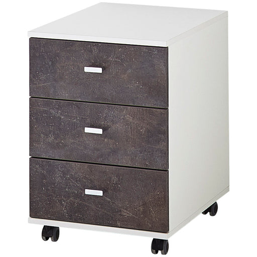 Pescara 3 Drawer White and Basalto Dark Drawer Pedestal - FurniComp