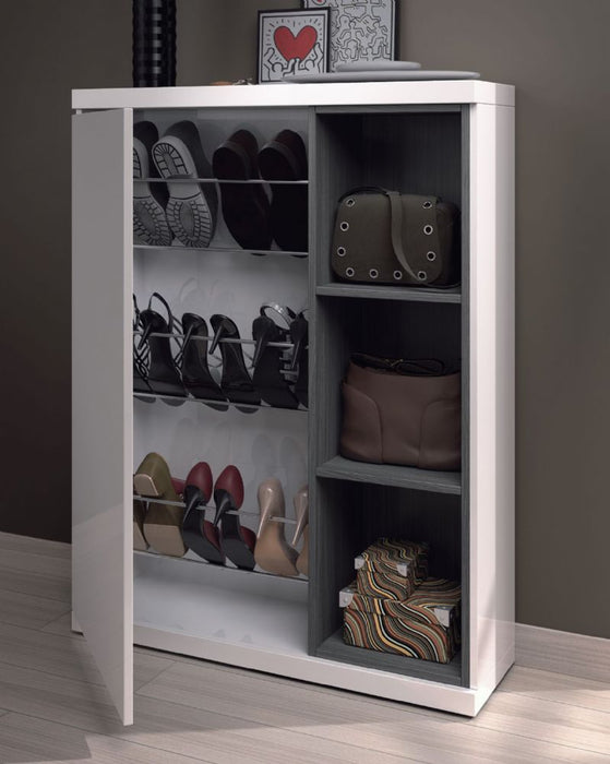 Phoenix White and Grey Shoe Cabinet with Mirror - FurniComp