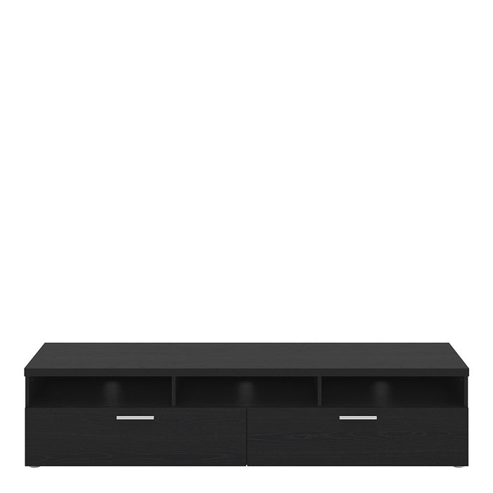 Pisa Black 2 Drawer 3 Shelves TV Unit - FurniComp