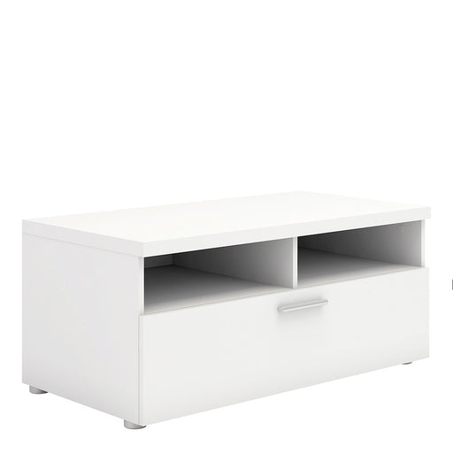 Pisa White 1 Drawer 2 Shelves TV Unit - FurniComp