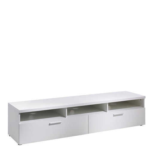 Pisa White 2 Drawer 3 Shelves TV Unit - FurniComp