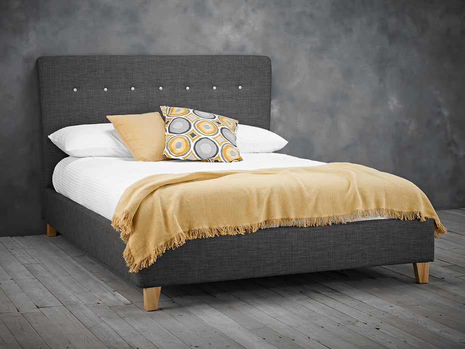 Quinn Charcoal Fabric Bed - FurniComp