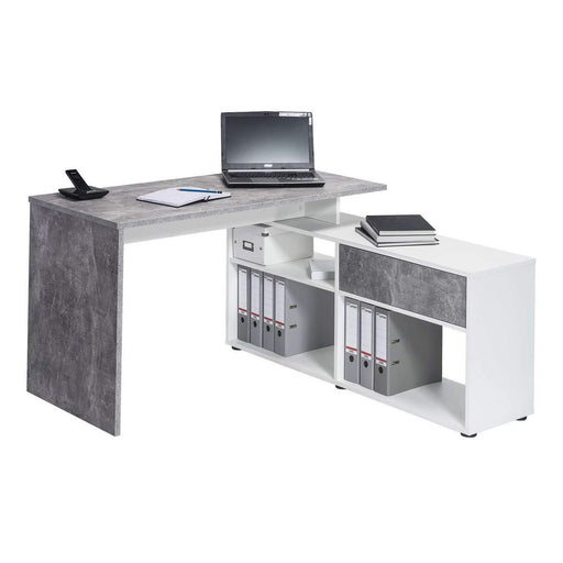 Reno Large Concrete Grey and White L Shaped Corner Desk - FurniComp