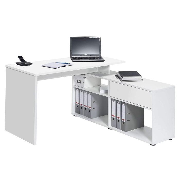 Reno Large White L Shaped Corner Desk - FurniComp