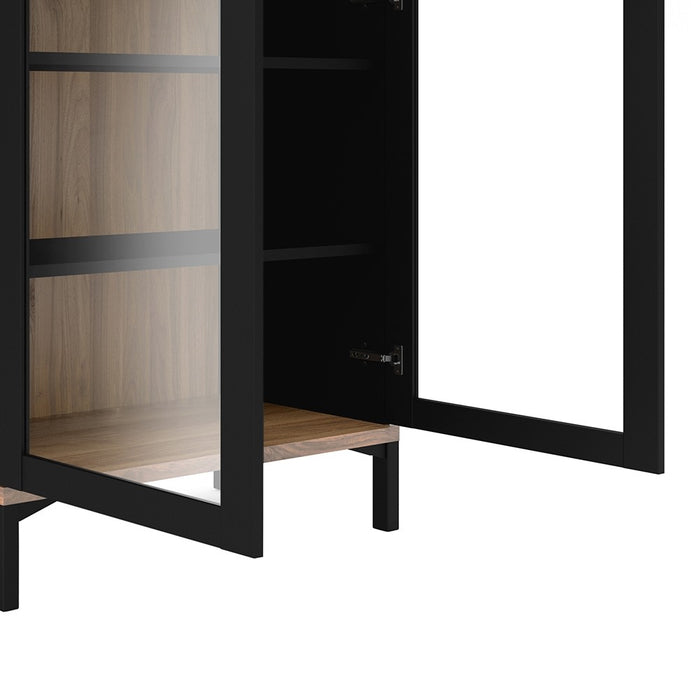 Retro Display Cabinet Glazed 2 Doors in Black and Walnut - FurniComp