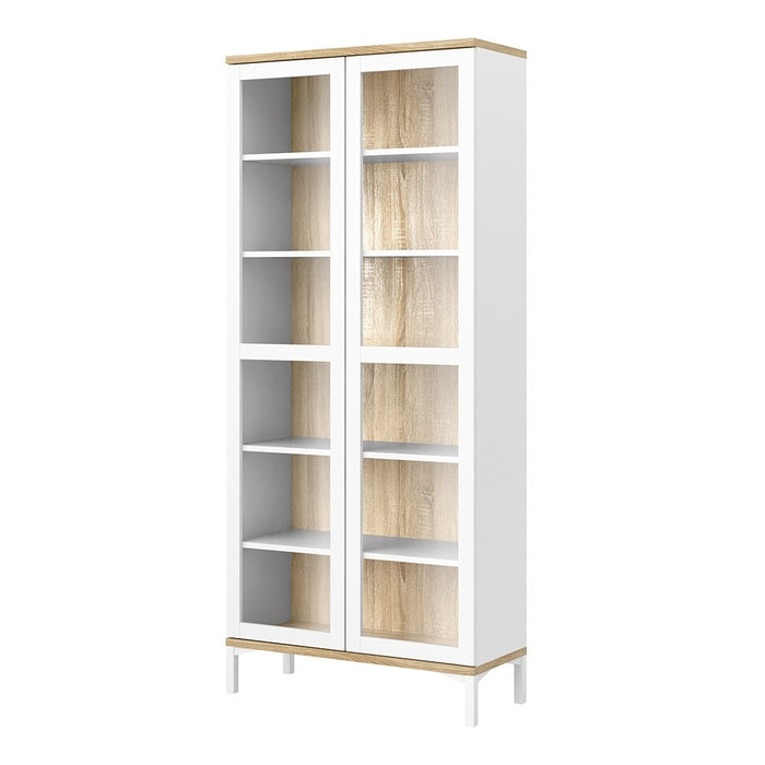 Retro Display Cabinet Glazed 2 Doors in White and Oak - FurniComp