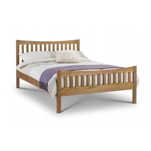 Rimini Solid Oak Lacquered Finish King Size Bed Frame