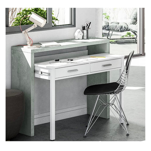 Roma Extending White and Grey Console/Computer Desk - FurniComp