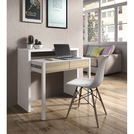 Roma Extending White and Oak Console/Computer Desk - FurniComp