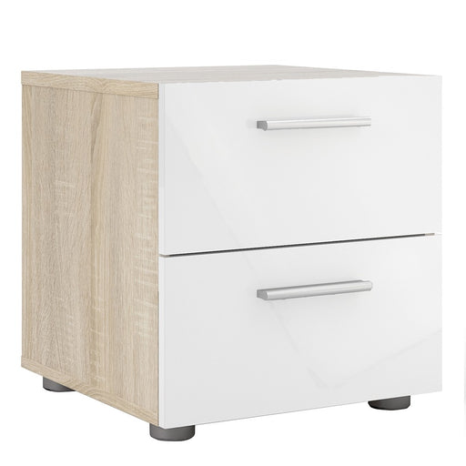 Rotterdam 2 Drawers Oak with White High Gloss Bedside - FurniComp