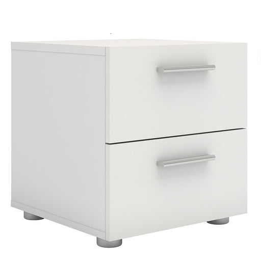 Rotterdam 2 Drawers White Bedside - FurniComp