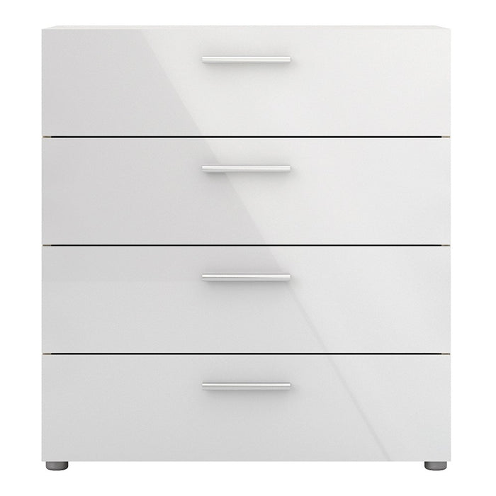Rotterdam 4 Drawers Oak with White High Gloss Chest of Drawer - FurniComp