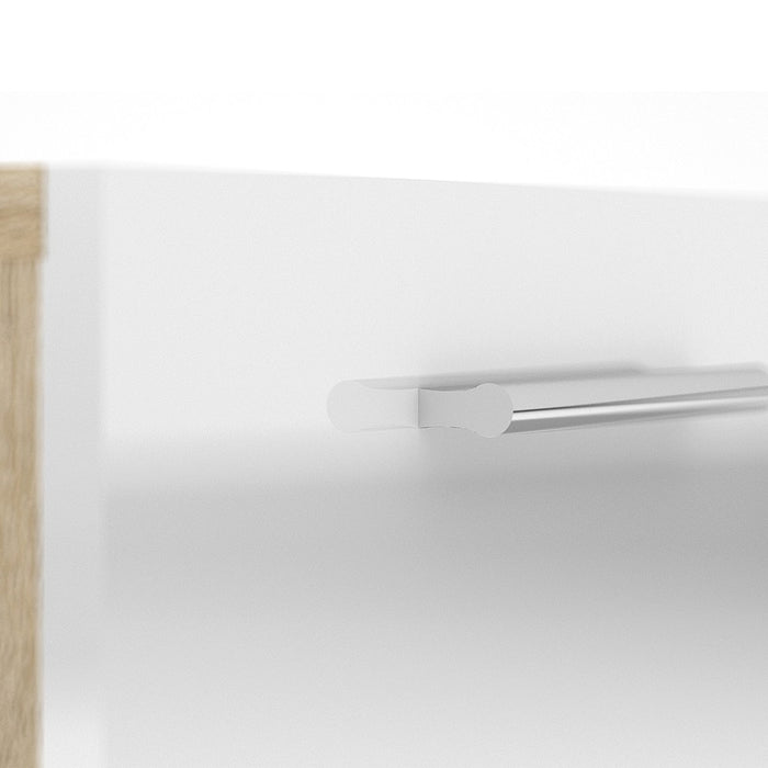 Rotterdam 5 Drawers Oak with White High Gloss Chest of Drawer - FurniComp