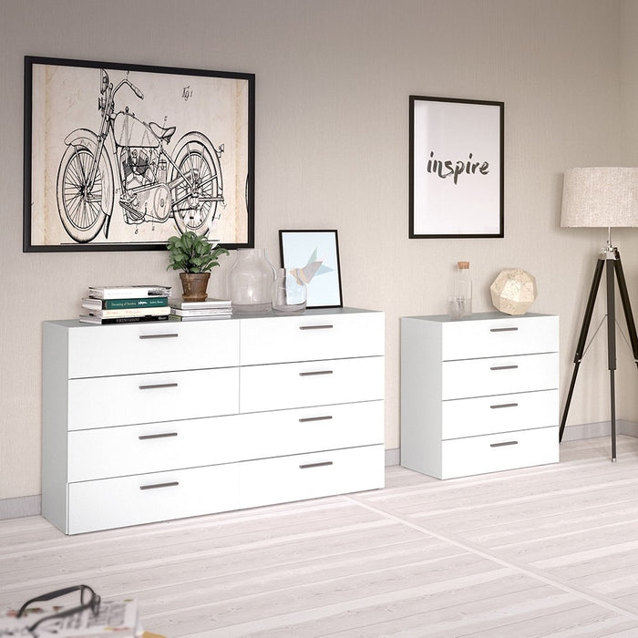 Rotterdam 8 Drawers (4+4) White Wide Chest of Drawer - FurniComp