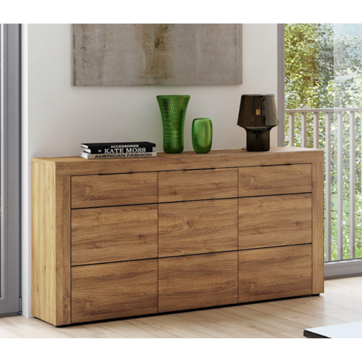 A stunning 3 drawer 2 door sideboard finished in an oak effect. A brilliant modern effortless design perfect for any room or setting