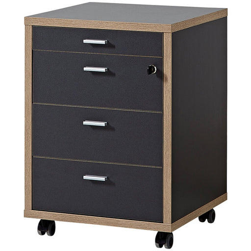 Salento 4 Drawer Anthracite and Oak Drawer Pedestal - FurniComp
