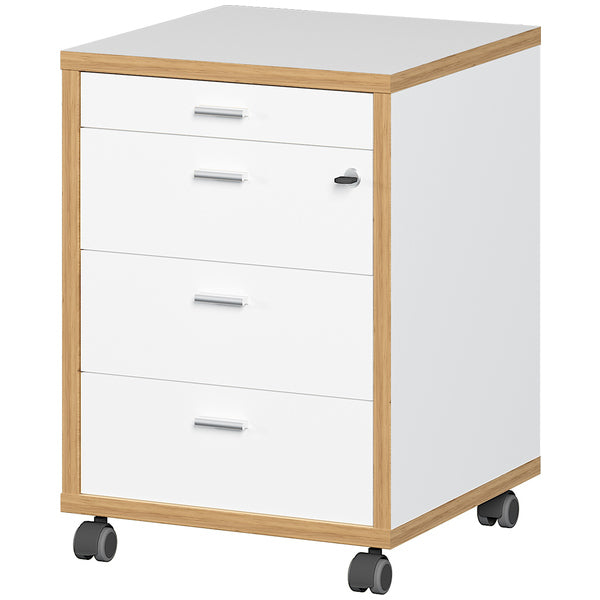 Salento 4 Drawer White and Oak Drawer Pedestal - FurniComp