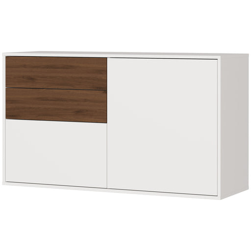 Salvador 2 Door 2 Drawer Cashmere and Walnut Shoe Cabinet - FurniComp