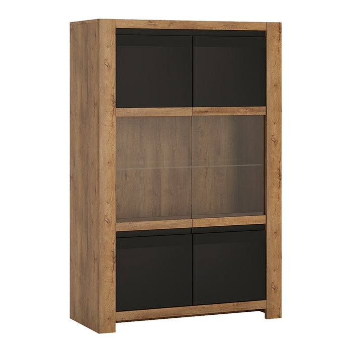 Santorini Lefkas Oak and Matt Black 2 Door Display Cabinet - FurniComp
