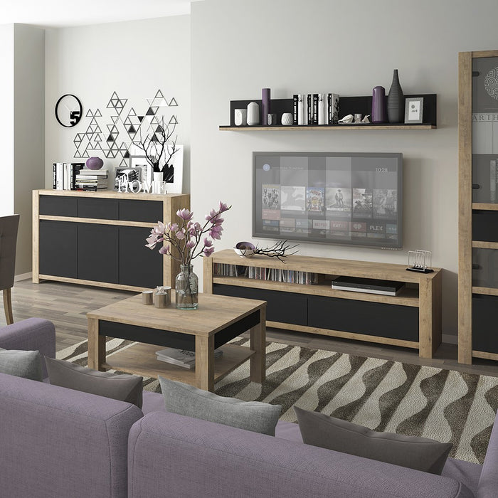 Santorini Oak and Matt Black 2 Door 1 Drawer TV Unit - FurniComp