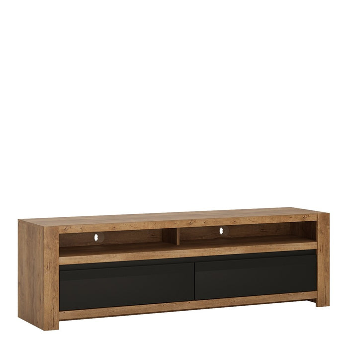 Santorini Oak and Matt Black 2 Drawer TV Unit - FurniComp