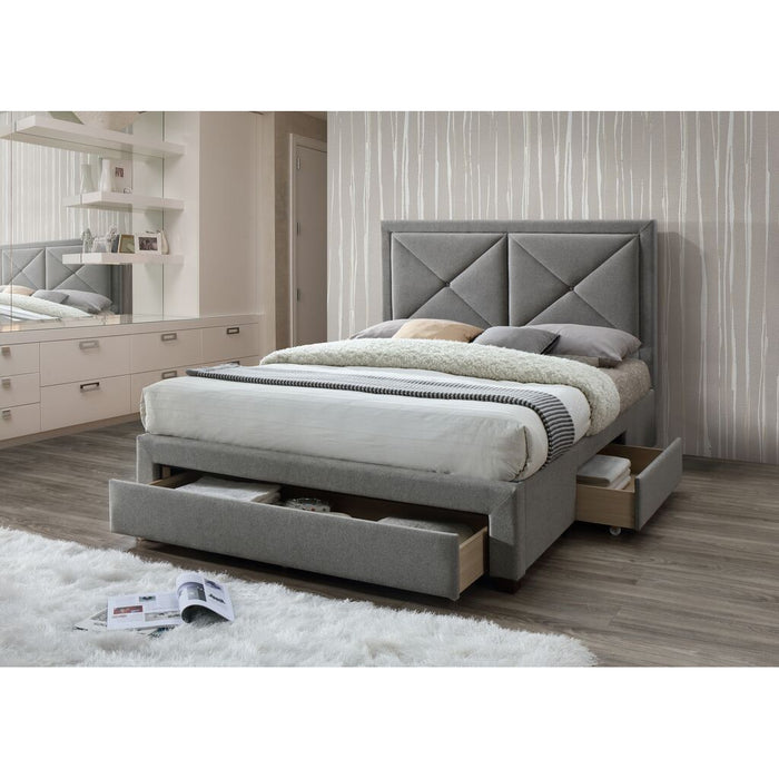 Selena Grey Marl 3 Drawer Fabric Bed Frame - FurniComp