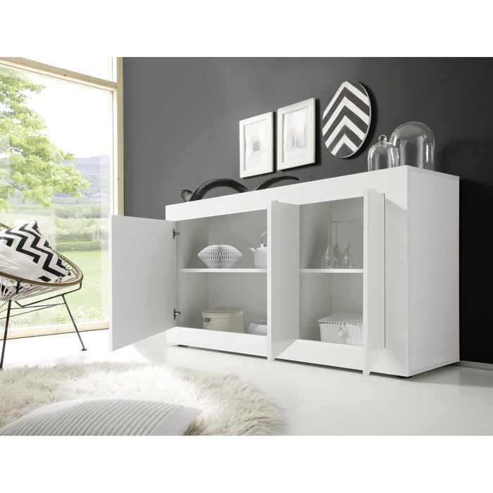 Selene 3 Door White Gloss Sideboard - FurniComp