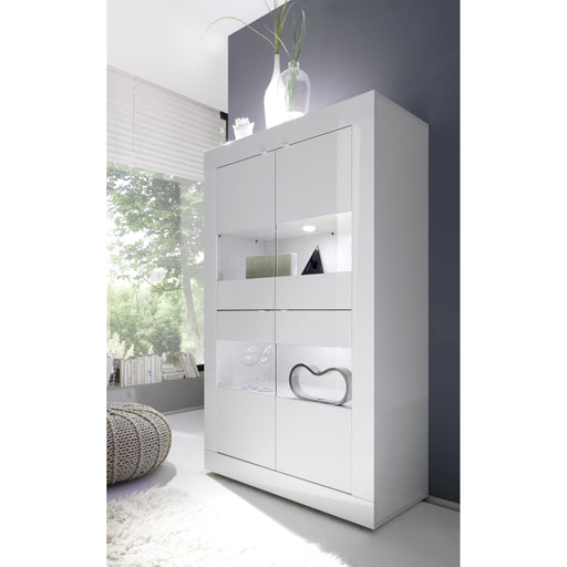 Selene Large 4 Door White Gloss Glass Display Cabinet - FurniComp