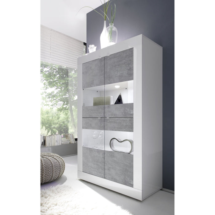 Selene Large 4 Door White Gloss and Concrete Grey Glass Display Cabinet - FurniComp