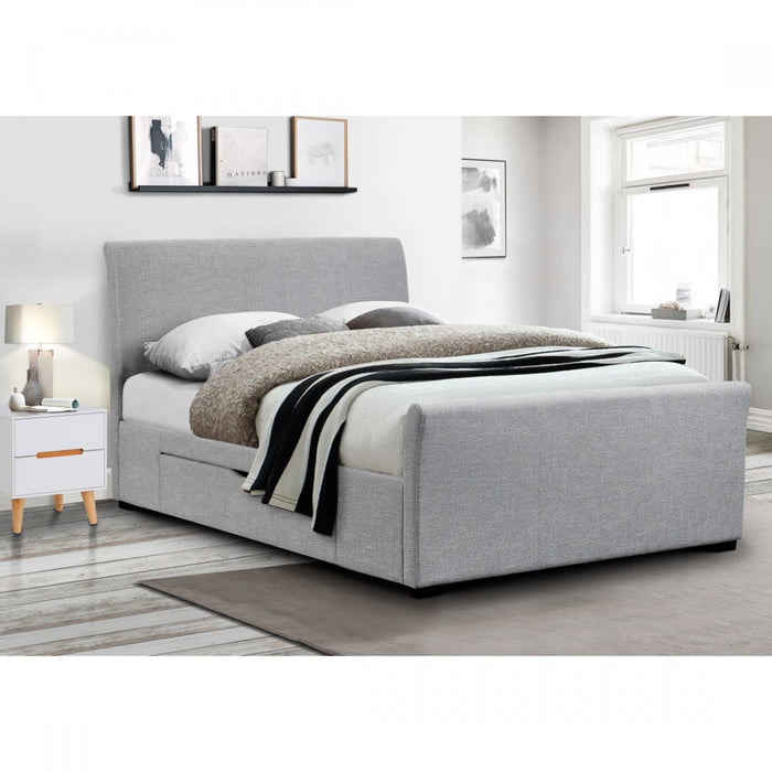 Sicily Light Grey Fabric 2 Drawer Bed - FurniComp