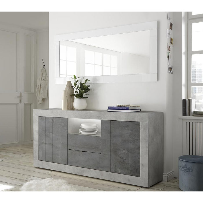 Siena 2 Door 2 Drawer Concrete Grey and Anthracite Sideboard - FurniComp