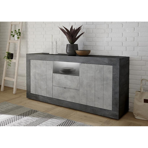 Siena 2 Door 2 Drawer Anthracite and Concrete Grey Sideboard - FurniComp