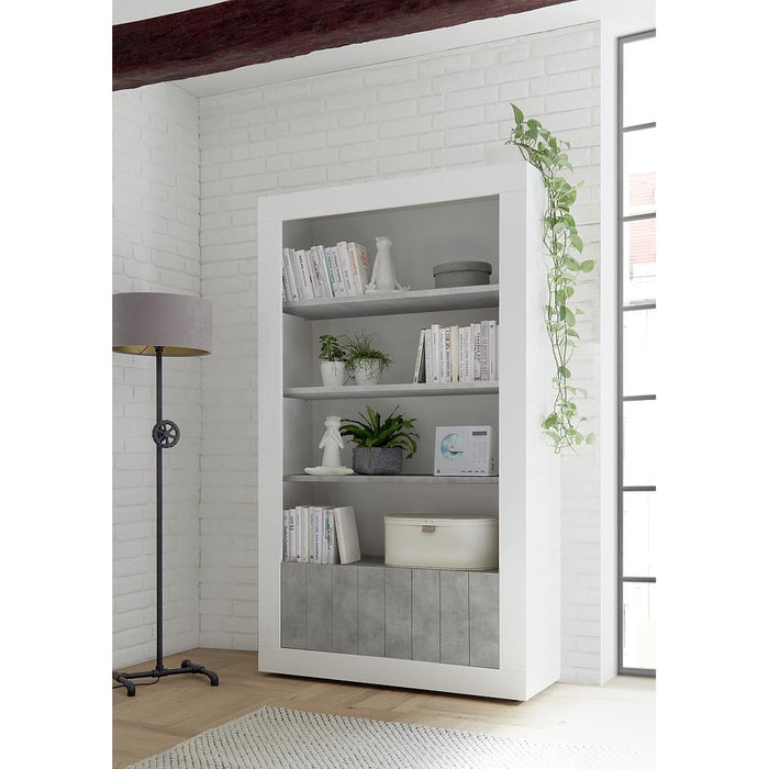 Siena 2 Door 4 Shelf White Gloss and Grey Bookcase - FurniComp