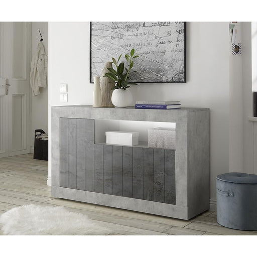 Siena 3 Door Concrete Grey and Anthracite Sideboard - FurniComp