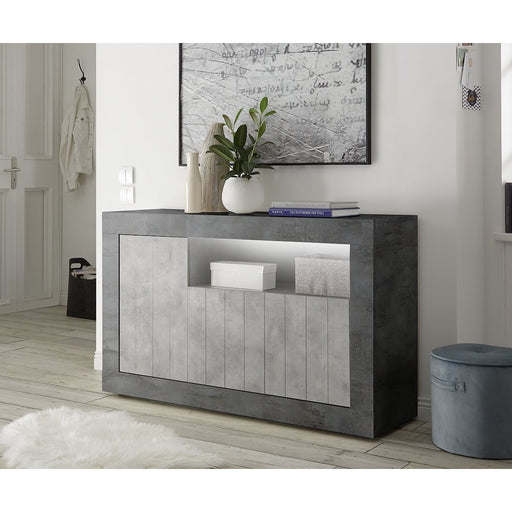Siena 3 Door Anthracite and Concrete Grey Sideboard - FurniComp