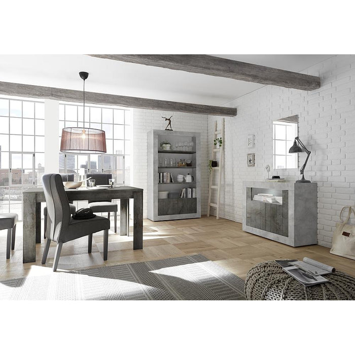 Siena 2 Door Concrete Grey and Anthracite Sideboard - FurniComp