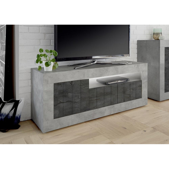 Siena 3 Door Concrete Grey and Anthracite TV Unit - FurniComp