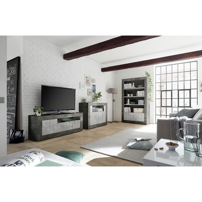 Siena 3 Door Anthracite and Concrete Grey TV Unit - FurniComp